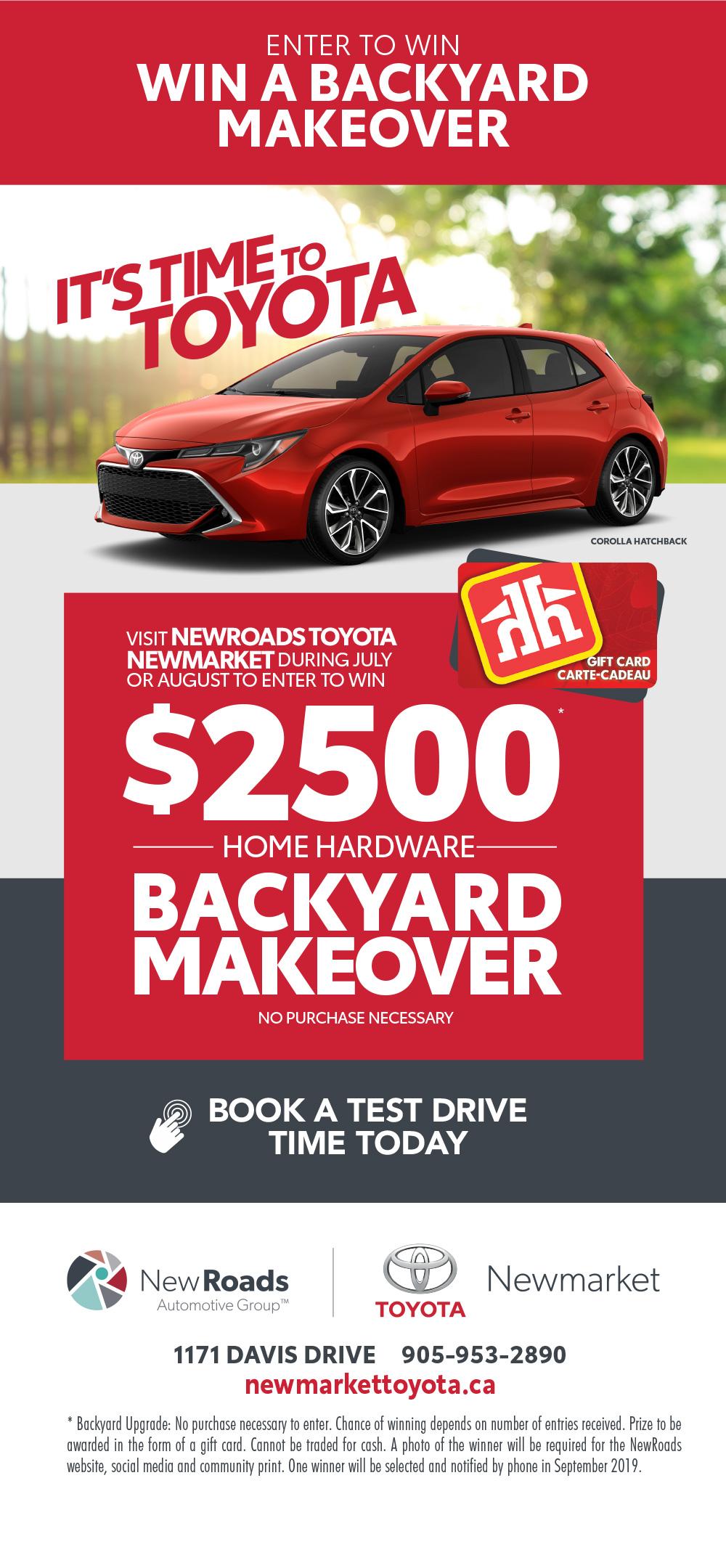 Win a Backyard Makeover - NewRoads Toyota Newmarket