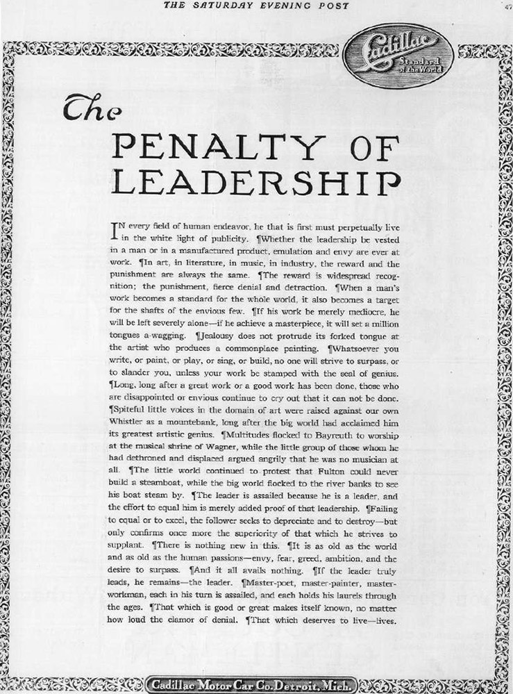 Cadillac S The Penalty Of Leadership