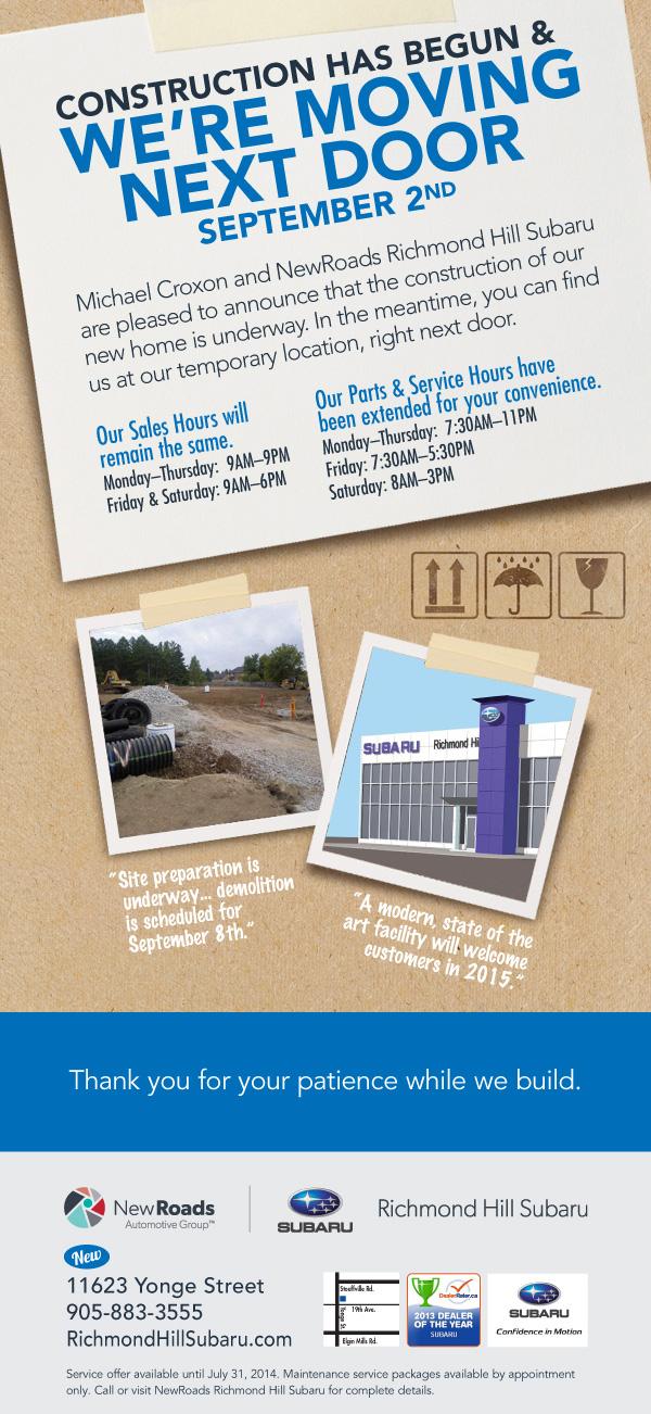 Richmond Hill Subaru's new dealership