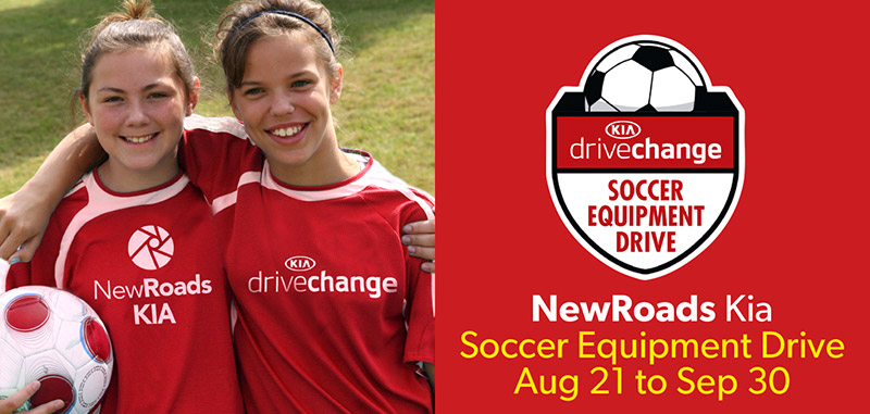 NewRoads Kia Drive Change Soccer Equipment Drive