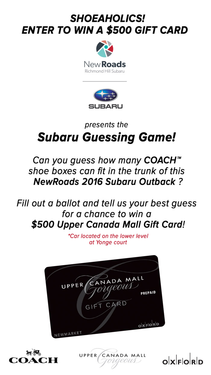 Upper Canada Mall Subaru Outback Guessing Game